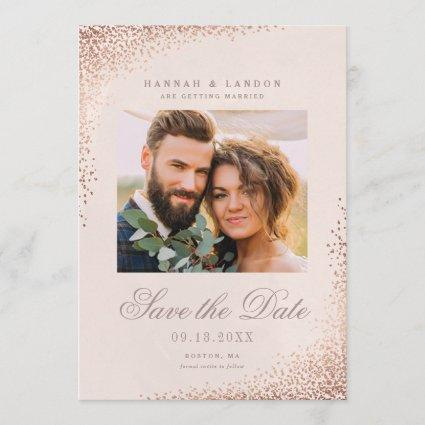 Shimmering confetti photo save the date