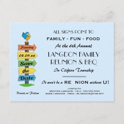 Signpost Save the Date Reunion, Party or Event Announcement