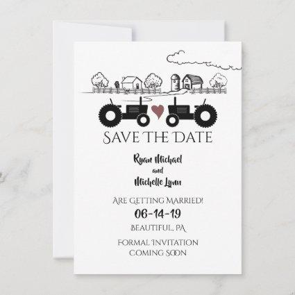 Silhouette Tractors and Farm Black - White Wedding Save The Date