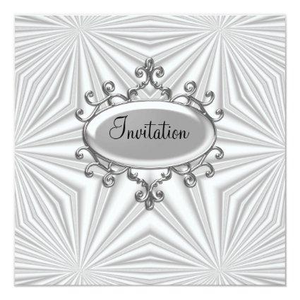 Silver and White Invitation any Occasion