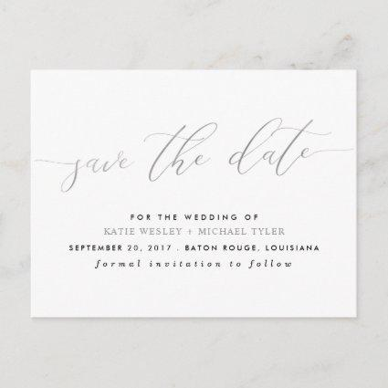 Silver Calligraphy Modern Save the Date Announcement