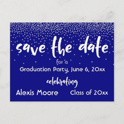 Silver Confetti Navy Graduation Party Save Date Announcement