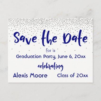 Silver Confetti Navy Save the Date Graduation Date Announcement