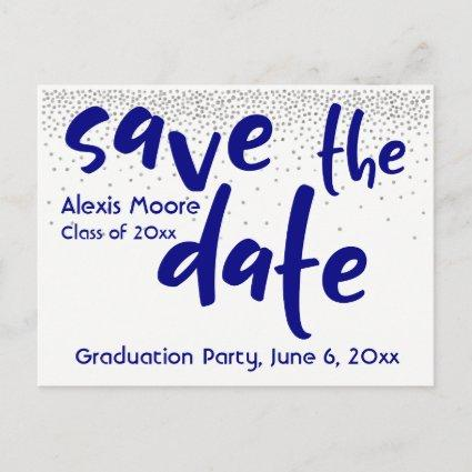 Silver Confetti Navy Typography Save the Date 1 Announcements Cards