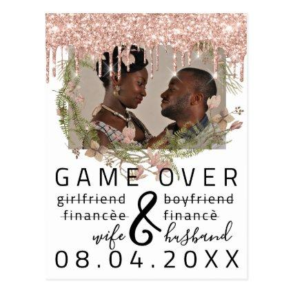 Silver DripsFunny Save The Date White Photo