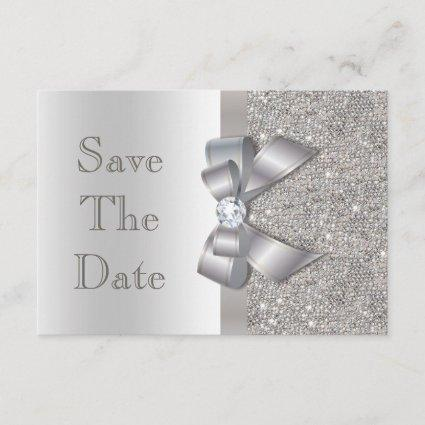 Silver Faux Bow & Diamonds Save The Date