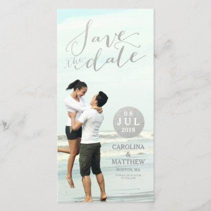 Silver Foil Glamor | Save the Date Photo Card