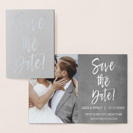 Silver Foil Photo Save the Date Card