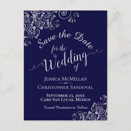 Silver Frills on Navy Blue Wedding Save the Date Announcement