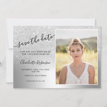 Silver glitter metallic ombre 3 photos Sweet 16 Save The Date