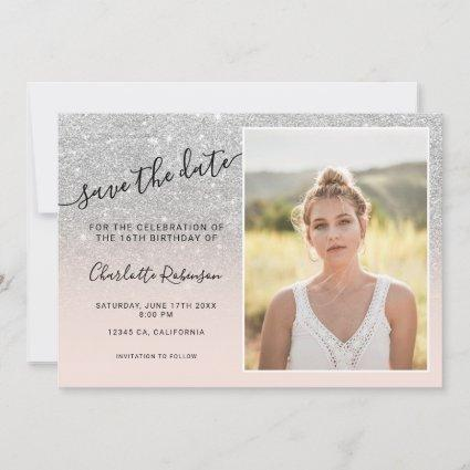 Silver glitter pink ombre 3 photos Sweet 16 Save The Date