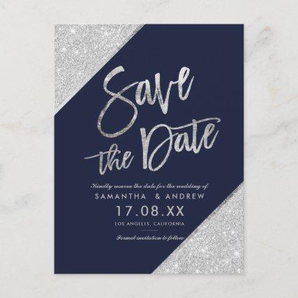 Silver glitter script navy blue save the date announcement