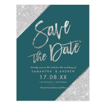Silver glitter script teal green save the date Cards