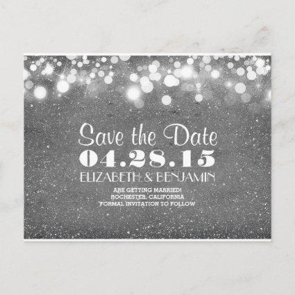 silver glitter string of lights save the date announcement