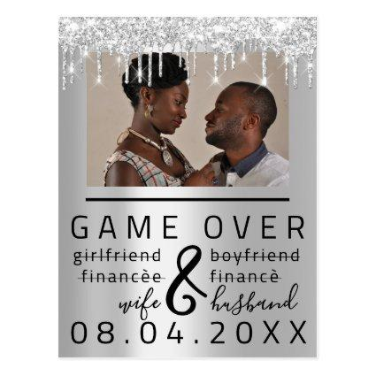 Silver Gray Funny Save The Date Couple Photo