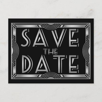 Silver Grey Vintage Art Deco Wedding Save the Date Announcement