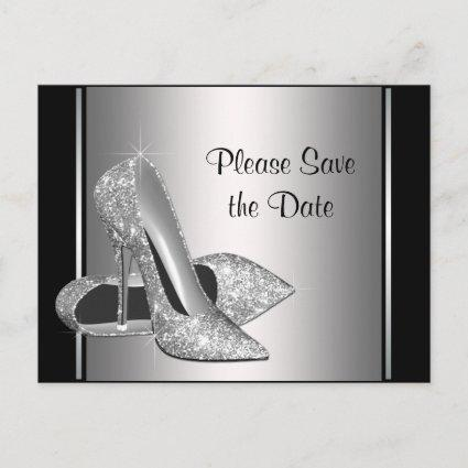 Silver High Heel Shoe Save The Date Announcement