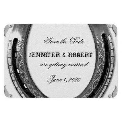Silver Horseshoe on White Wedding Save the Date Magnet