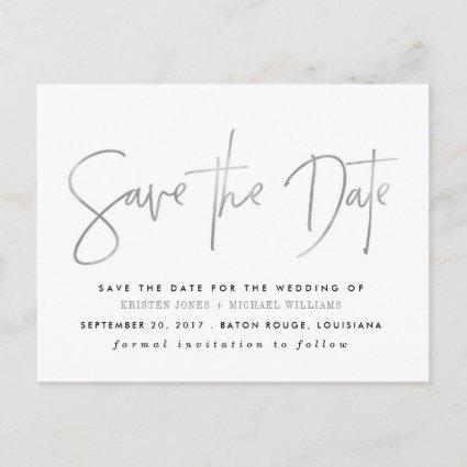 Silver Modern Save the Date Announcement