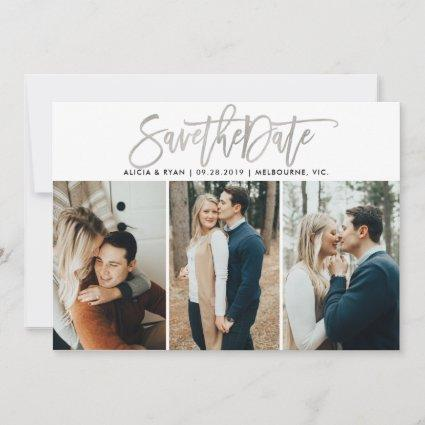 Silver multiple photos save the date