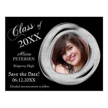 Silver Paint Brush Frame Save the Date Graduation