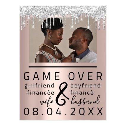 Silver Rose Funny Save The Date Couple Photo