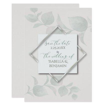 Silver Sage  Eucalyptus Save the Date 2 Invitation