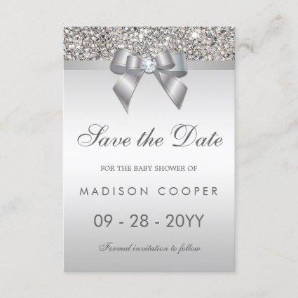 Silver Sequins Bling Bow Save The Date Baby Shower