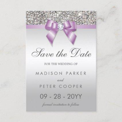 Silver Sequins Lilac Bow Save The Date Wedding