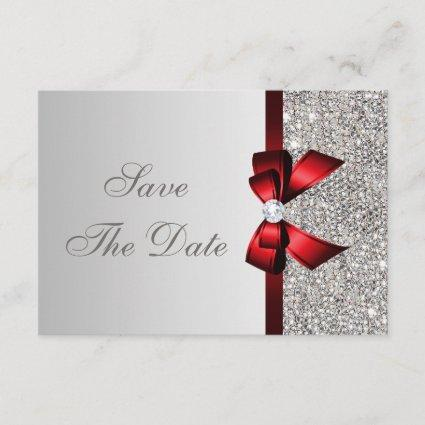 Silver Sequins, Red Bow & Diamond Save the Date