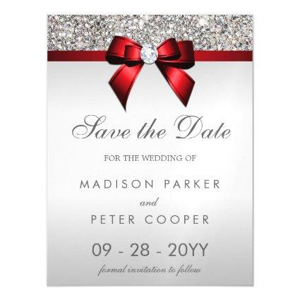 Silver Sequins Red Bow Save The Date Wedding Magnetic Invitation