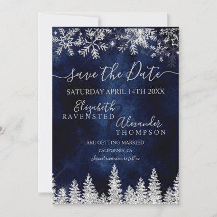 Silver snow pine navy Christmas save the date