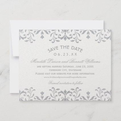 Silver Vintage Glam | Wedding Save The Date