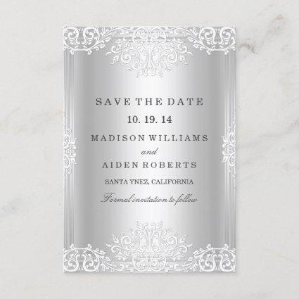 Silver Vintage Glamour Wedding Save The Date