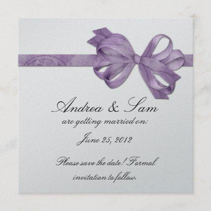 Silver with Purple Bow Save The Date