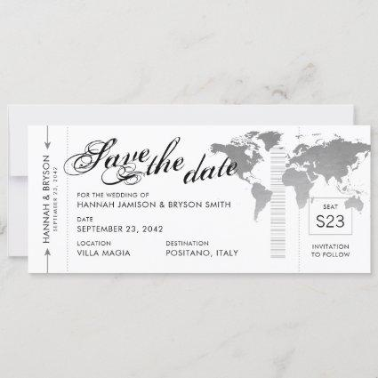 Silver World Map Boarding Pass Save the Date Card