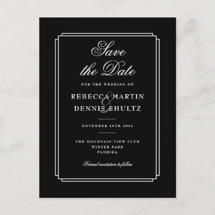 Simple Black and White Classic Deco Save the Date Announcement