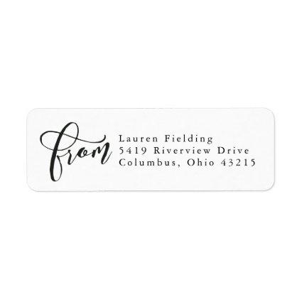 Simple black and white from script return address label