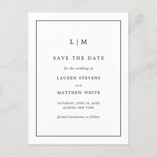Simple Black and White Monogram Save the Date Announcement