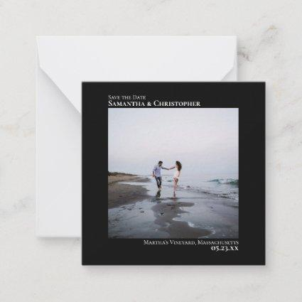Simple Black Wedding Save the Date Photo Mini Note Card
