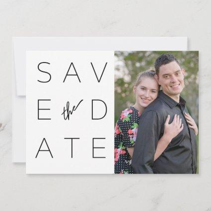 Simple Black & White 2 Photo Save the Date