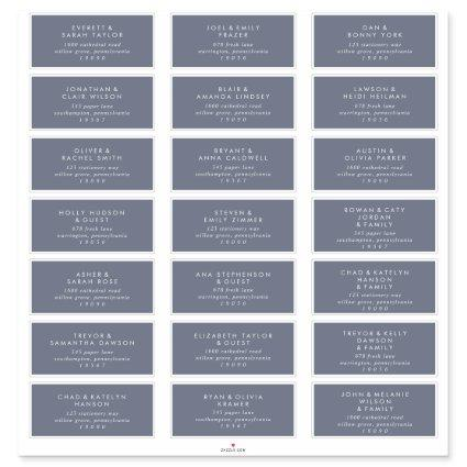 Simple Blue Gray Wedding Guest Address Labels