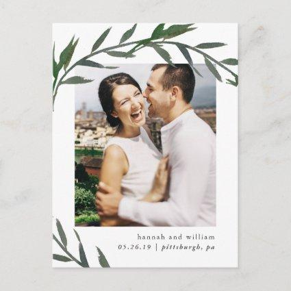 Simple Botanical Wedding Save the Date Photo Announcement