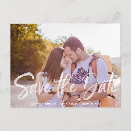 Simple Brush Handwritten Font Save The Date Photo Announcement