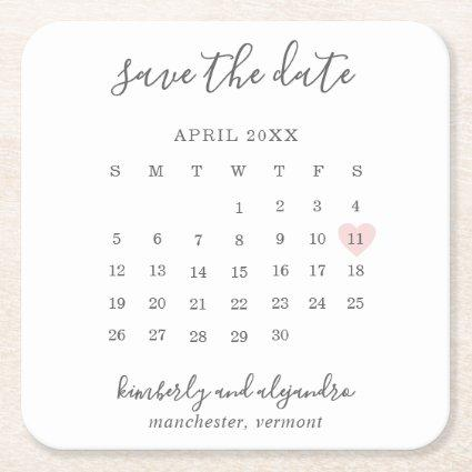 Simple Calendar Pastel Pink Heart Save the Date Square Paper Coaster