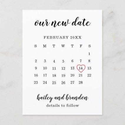 Simple Calendar Red Heart Wedding Change the Date Announcement