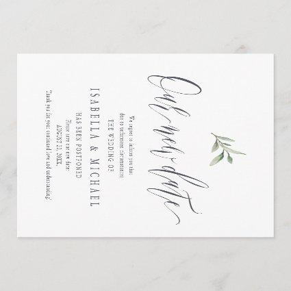 Simple calligraphy greenery save the new date invitation