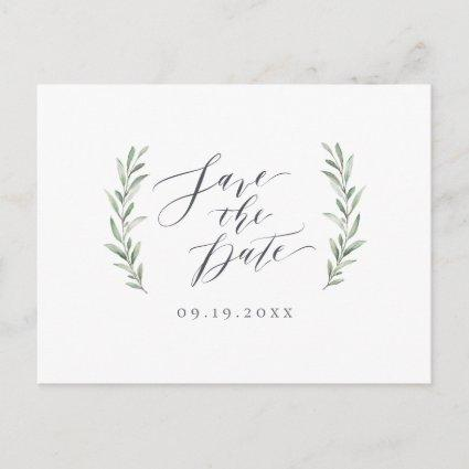 Simple calligraphy rustic greenery wedding announcement