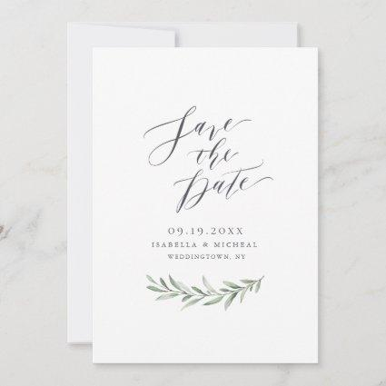 Simple calligraphy rustic greenery wedding save the date