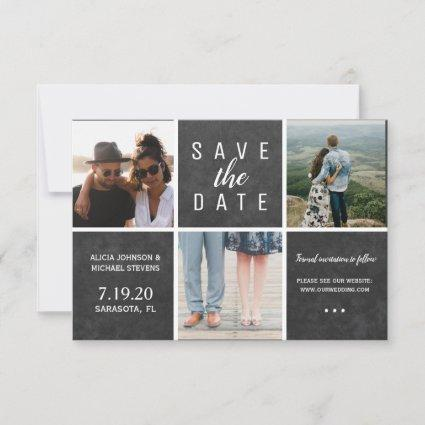 Simple chalkboard white 3 photo collage wedding save the date